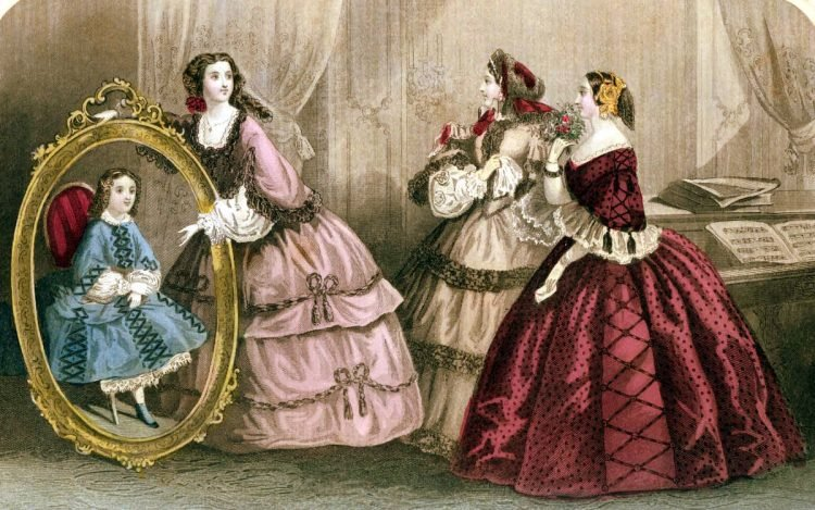 Fashion history: Dress styles from January 1859, in  color