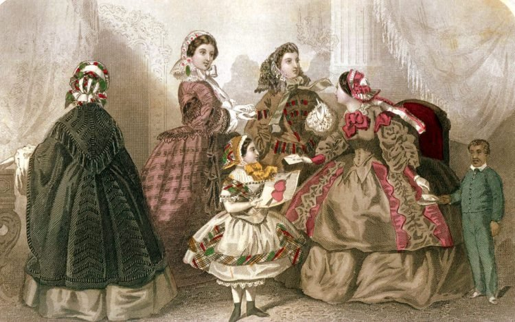 Elegant Victorian walking & carriage dresses from February 1859