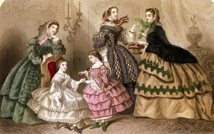 Vintage walking dresses from March 1859, in color