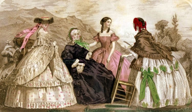 Elegant Victorian dresses for dinner for May 1859