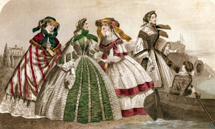Fashion history: Walking & dinner dress styles from July 1859