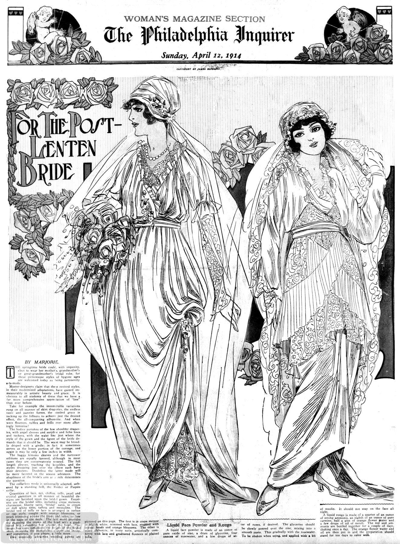 Fashionable, stunning and stylish vintage wedding dresses from 1914