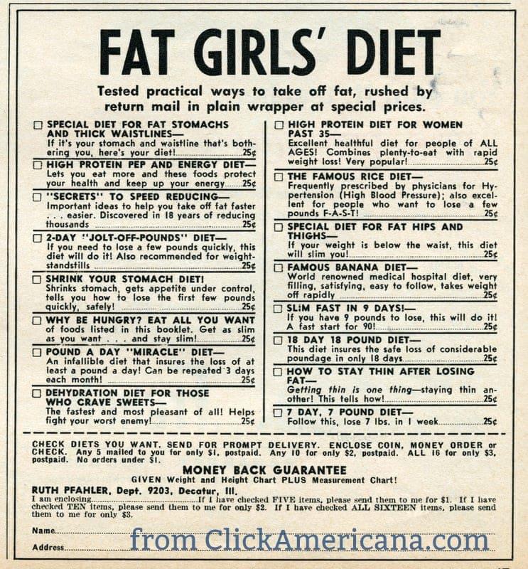 Fat girls' diet - 1959