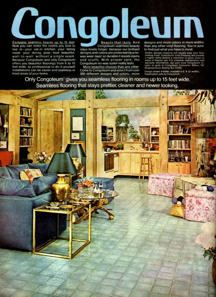 Faux blue tile vinyl flooring and home decor from 1978