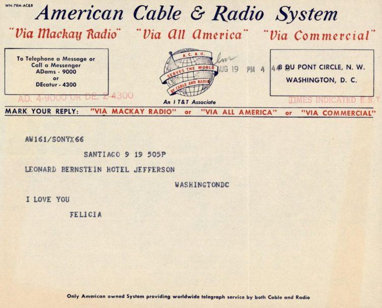 Felicia Montealegre (Bernstein) to Leonard Bernstein, August 19 Telegram