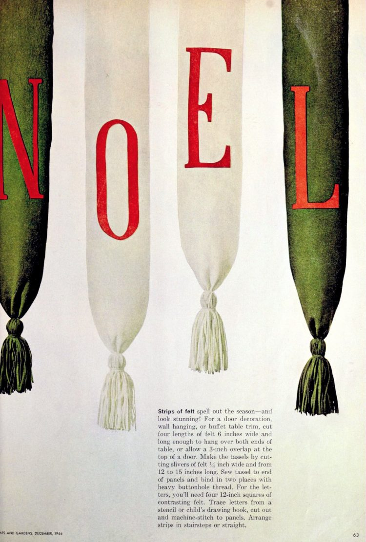 Felt holiday banner decor craft how-to 60s-style