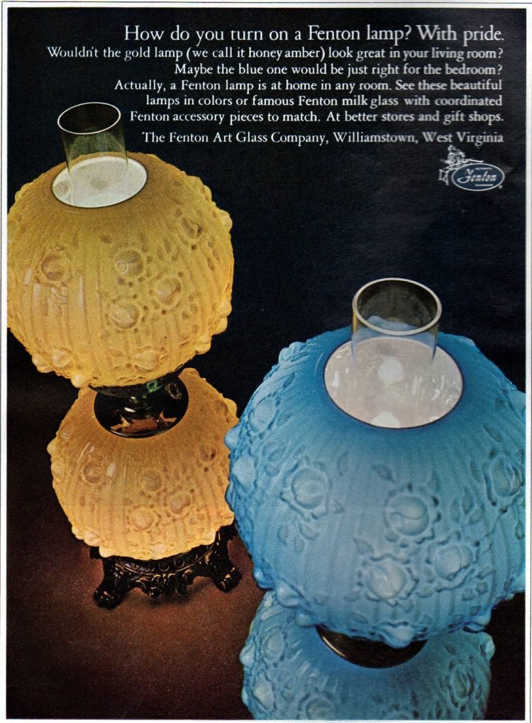 Fenton art glass lamps from 1967