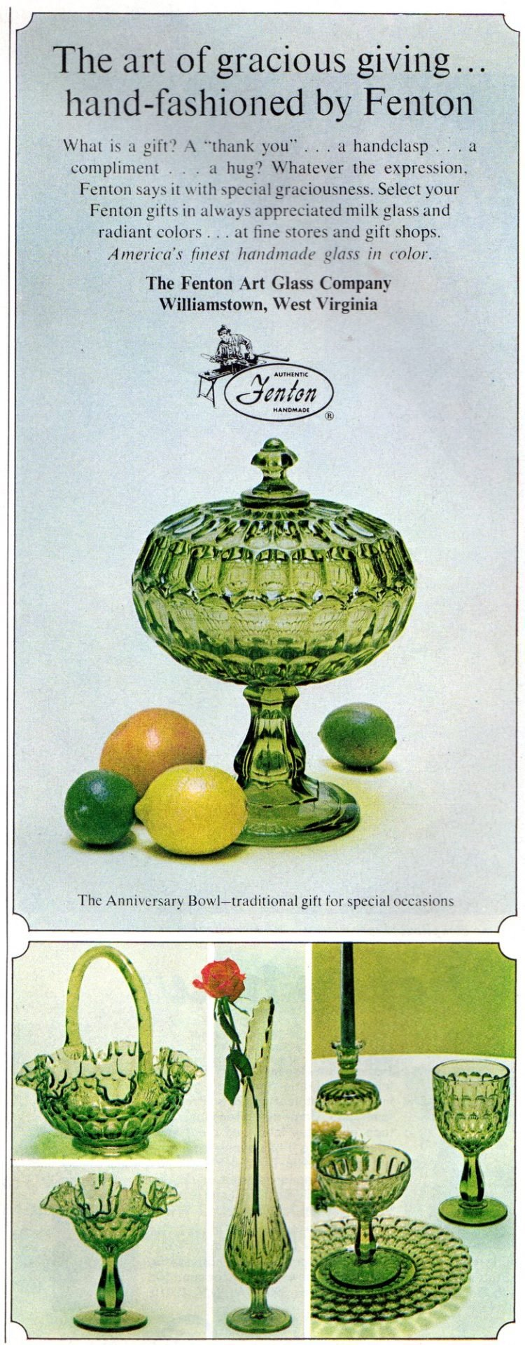 Fenton green glass home decor from 1966