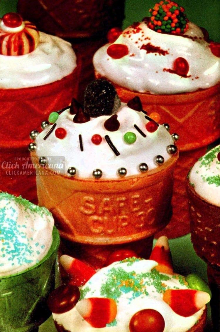 Vintage recipe ice cream cone cakes