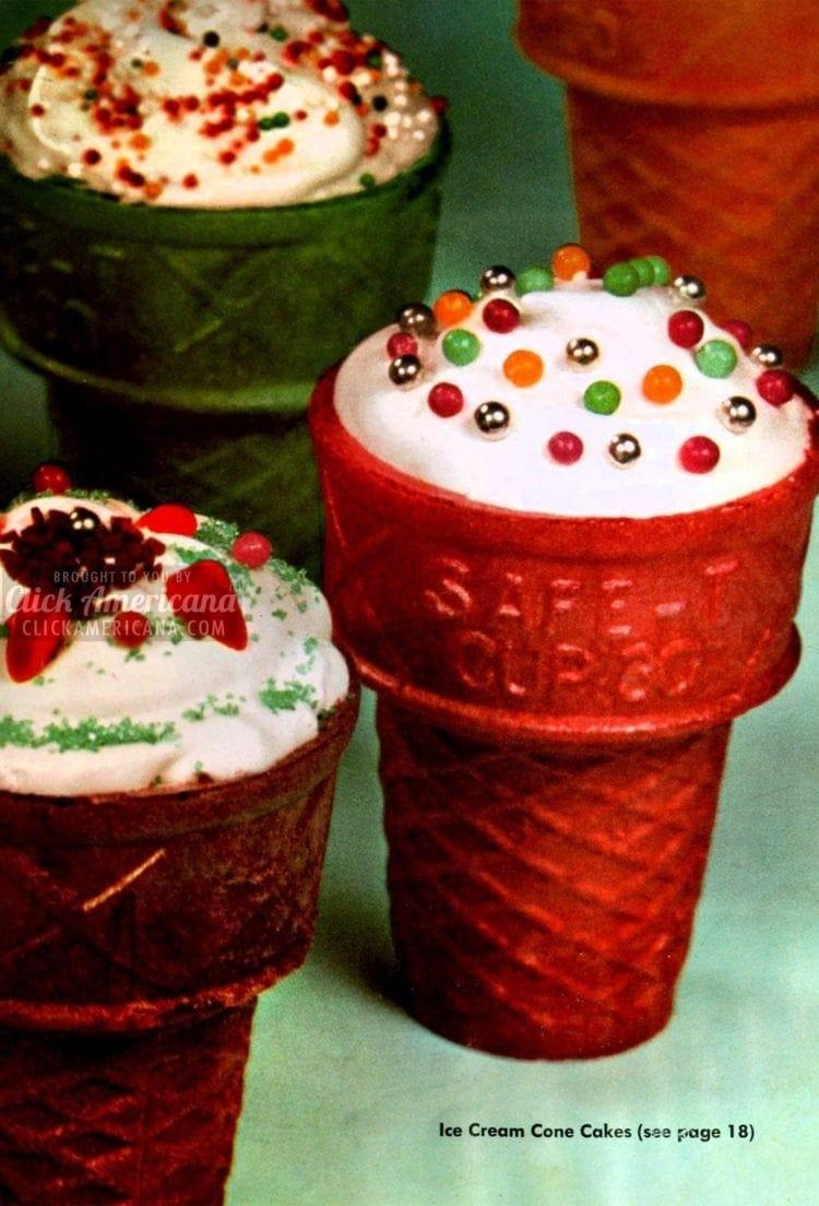 Festive ice cream cone cakes (1957)