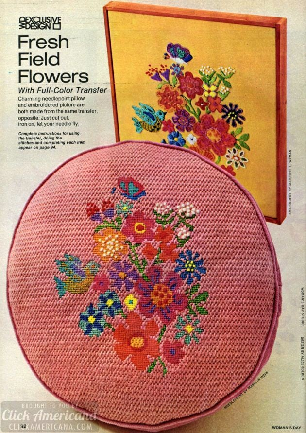 Field flower needlepoint-june-1973