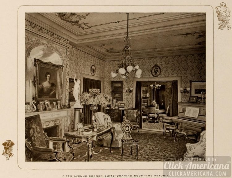 Fifth Ave corner suite - drawing room - Astoria Hotel - 1903
