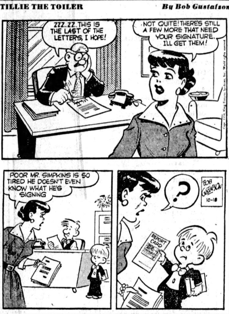 Fifties comic strip Tillie the Toiler - The San Francisco Examiner - Oct 18 1954