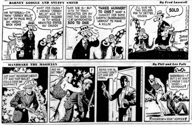 Fifties comic strips Barney Google and Mandrake the Magician - The San Francisco Examiner - Mar 1 1954