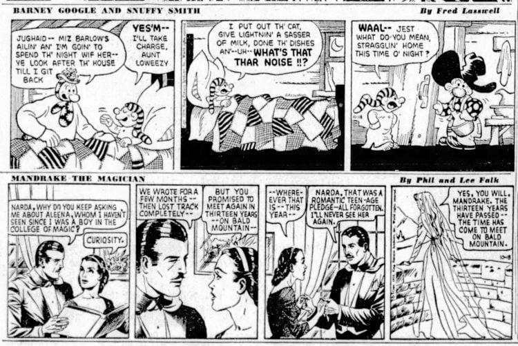 Fifties comic strips Barney Google and Mandrake the Magician - The San Francisco Examiner - Oct 18 1954