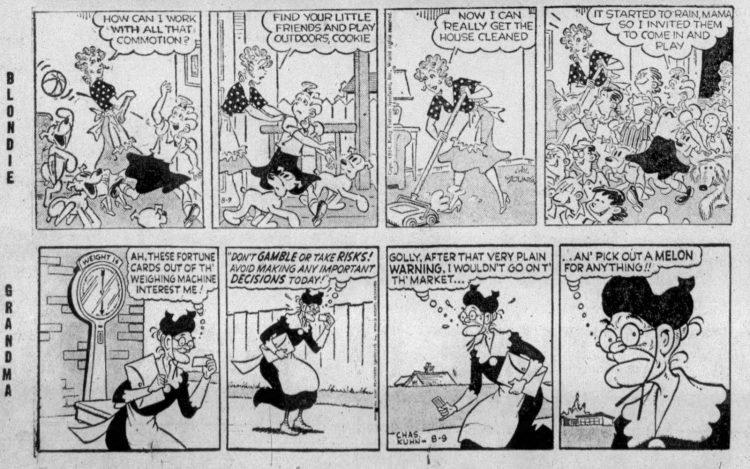 Fifties comic strips Blondie and Grandma The Bristol Herald Courier - Aug 9 1954