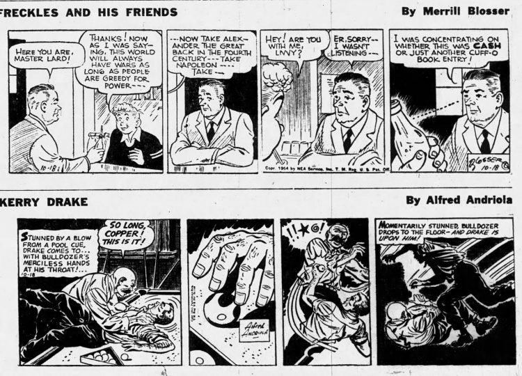 Fifties comic strips Freckles and his Friends and Kerry Drake - The Ogden Standard Examiner - Oct 18 1954