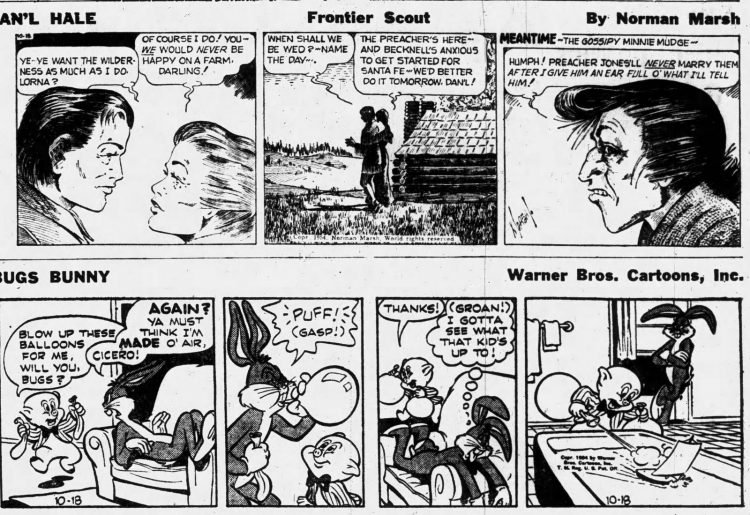 Fifties comic strips Hale Frontier Scout and Bugs Bunny - The Ogden Standard Examiner - Oct 18 1954