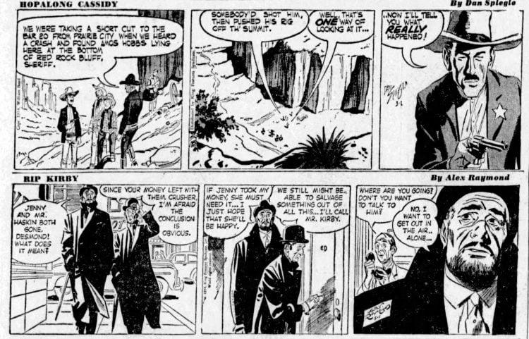 Fifties comic strips Hopalong Cassidy and Rip Kirby - The San Francisco Examiner - Mar 1 1954