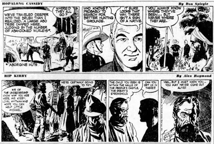 Fifties comic strips Hopalong Cassidy and Rip Kirby - The San Francisco Examiner - Oct 18 1954