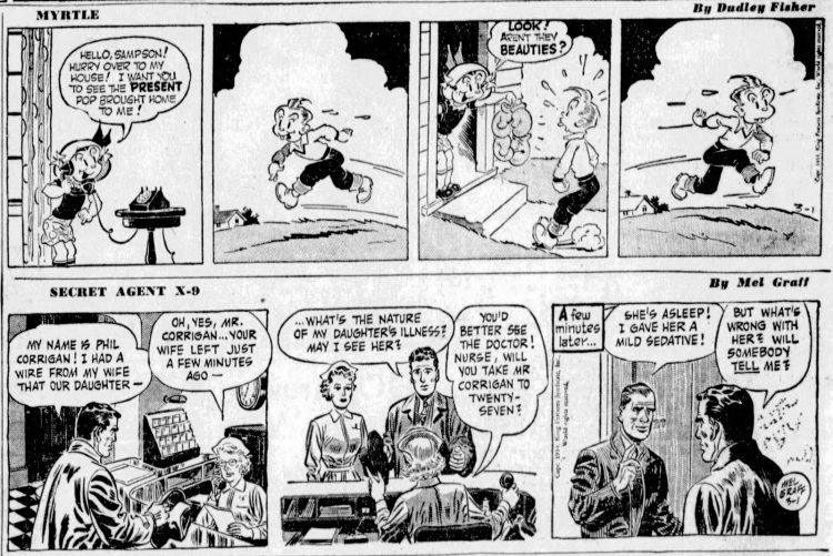 Fifties comic strips Myrtle and Secret Agent X-9 - The San Francisco Examiner - Mar 1 1954