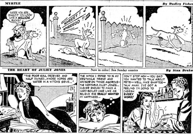 Fifties comic strips Myrtle and The Heart of Juliet Jones - The San Francisco Examiner - Oct 18 1954