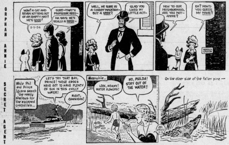 Fifties comic strips Orphan Annie and Secret Agent - The Bristol Herald Courier - Aug 9 1954