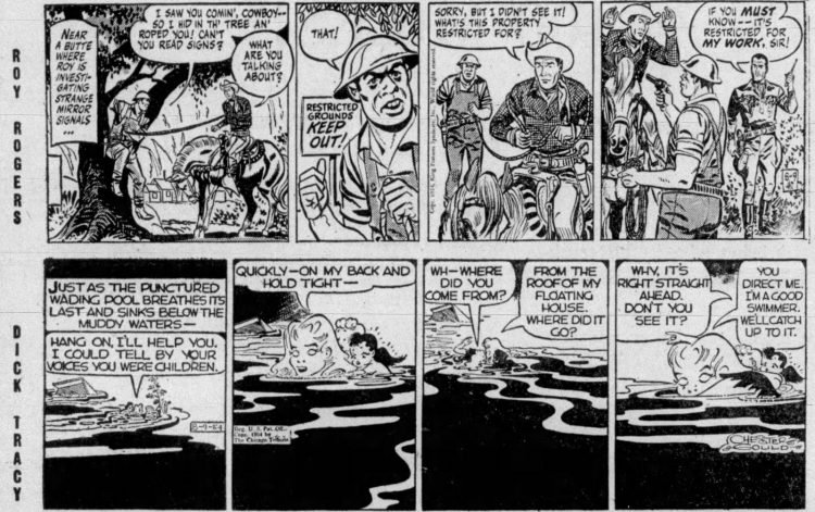 Fifties comic strips Roy Rogers and Dick Tracy - The Bristol Herald Courier - Aug 9 1954