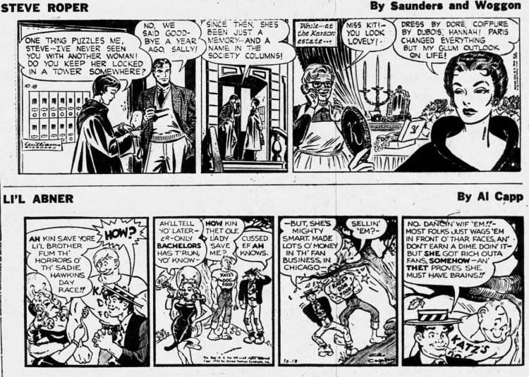 Fifties comic strips Steve Roper and L'il Abner - The Ogden Standard Examiner - Oct 18 1954