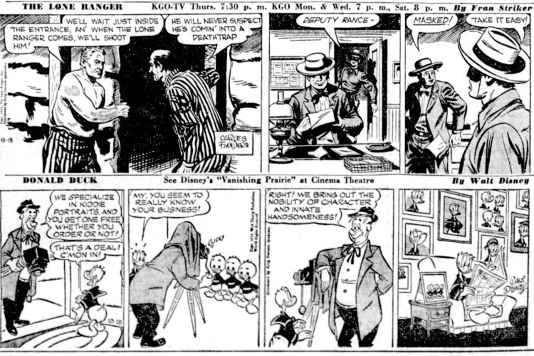 Fifties comic strips The Lone Ranger and Duck - The San Francisco Examiner - Oct 18 1954