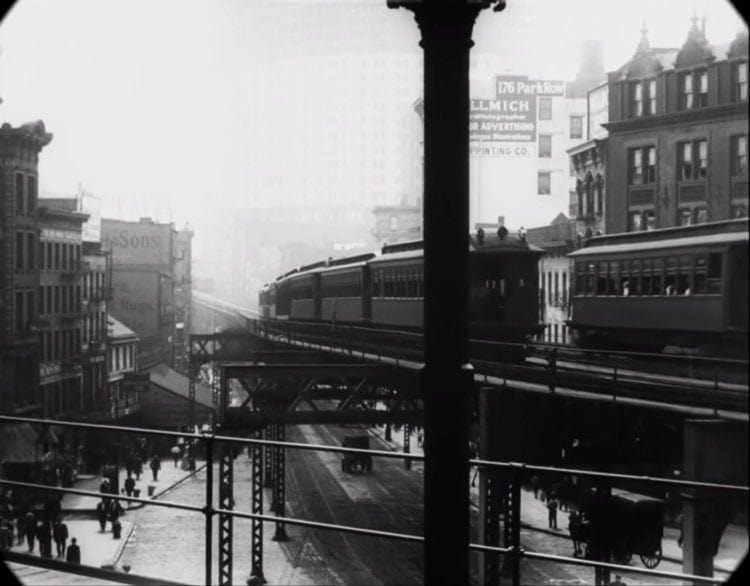 Elevated railways at Bowery and Worth Streets