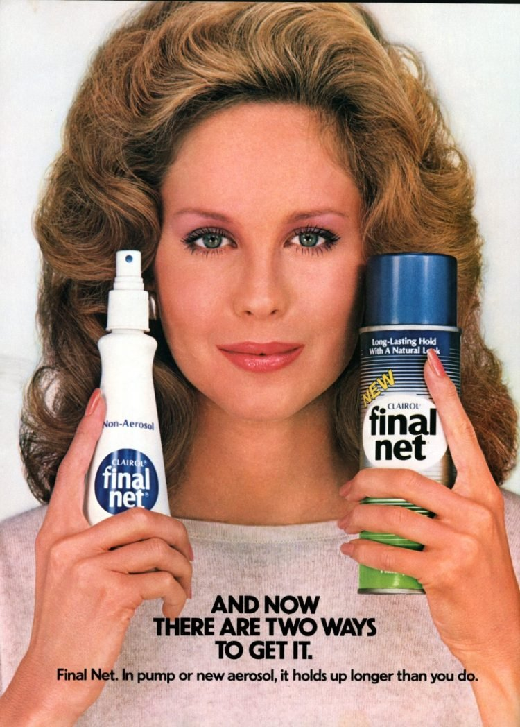 Final Net hairspray pump and aerosol from 1982
