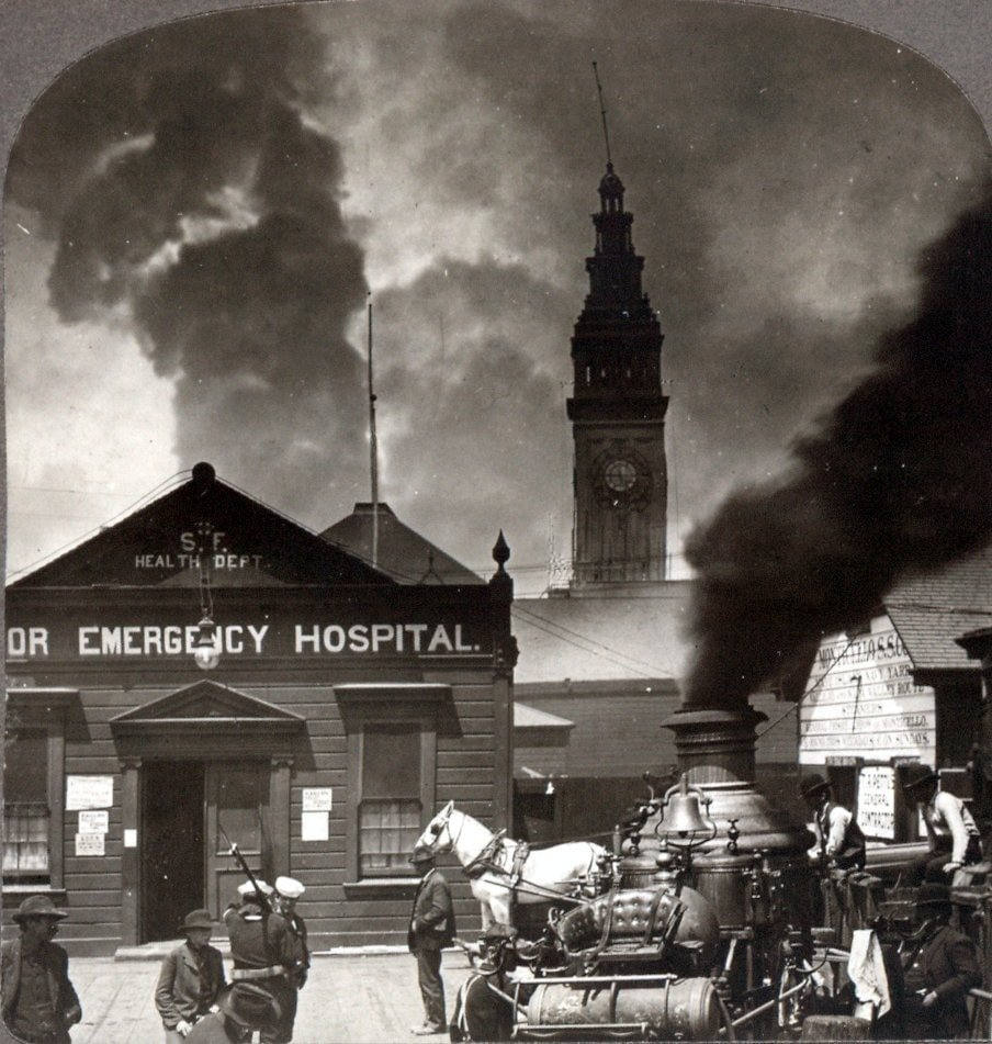 Fire engine and sailors in front of Harbor Emergency Hospital following San Francisco earthquake
