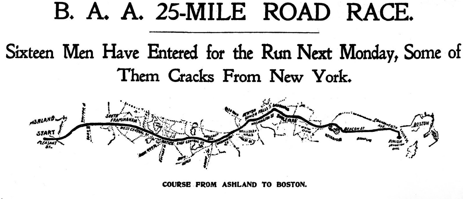 First Boston Marathon race course map - Published in The Boston Globe - April 16, 1897