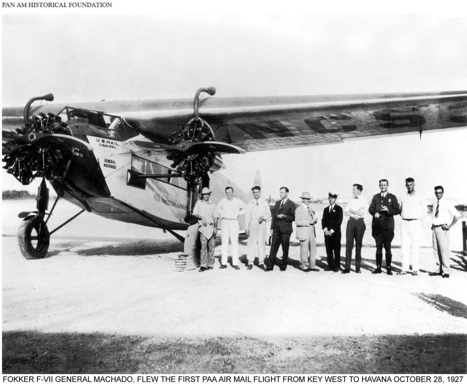 First Pan-Am flight - Fokker F-VII General Machado (1927)