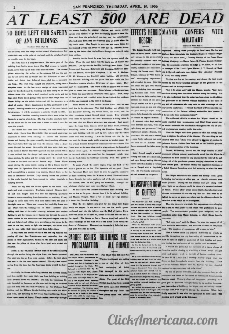 First chaotic news reports from the devastating 1906 San Francisco earthquake and fire (1)