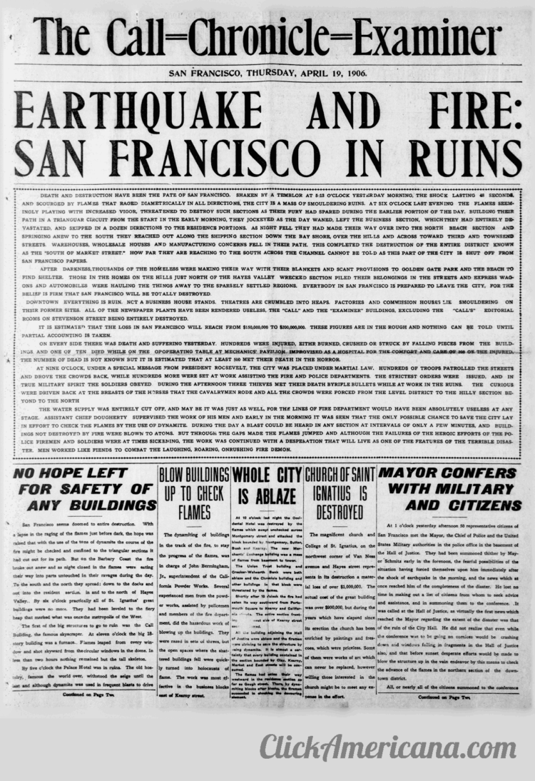 First chaotic news reports from the devastating 1906 San Francisco earthquake and fire (2)