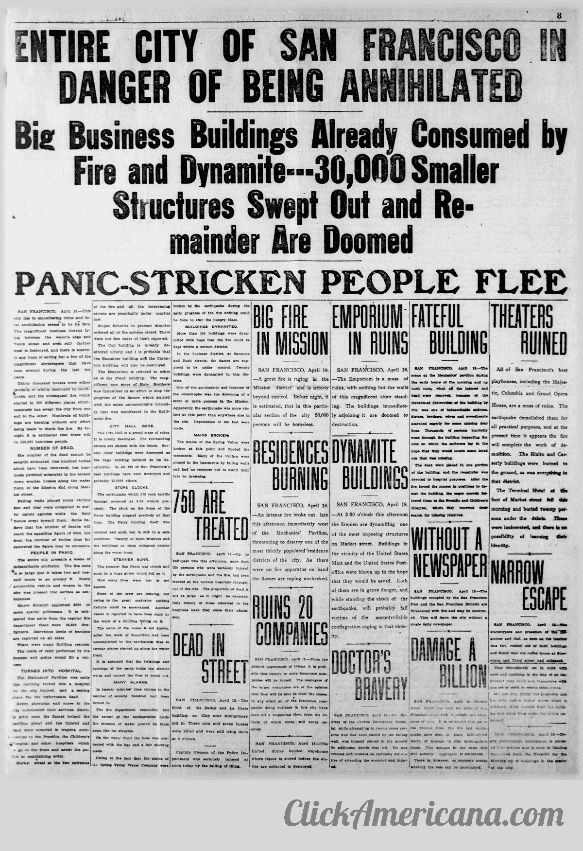 First chaotic news reports from the devastating 1906 San Francisco earthquake and fire (3)