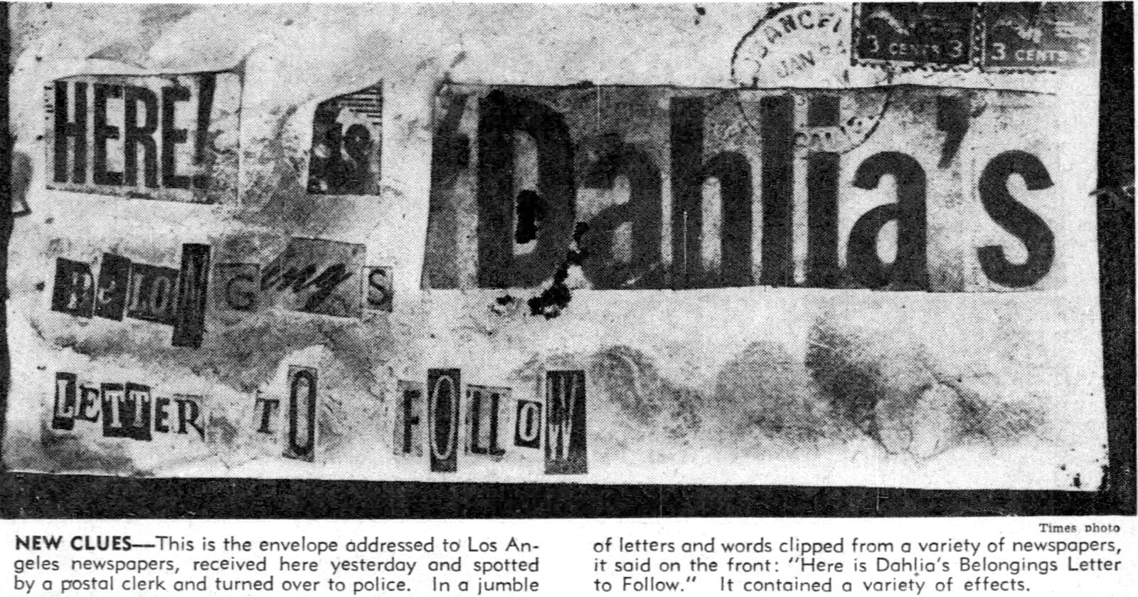 First cutout note about Black Dahlia murder - January 25 1947