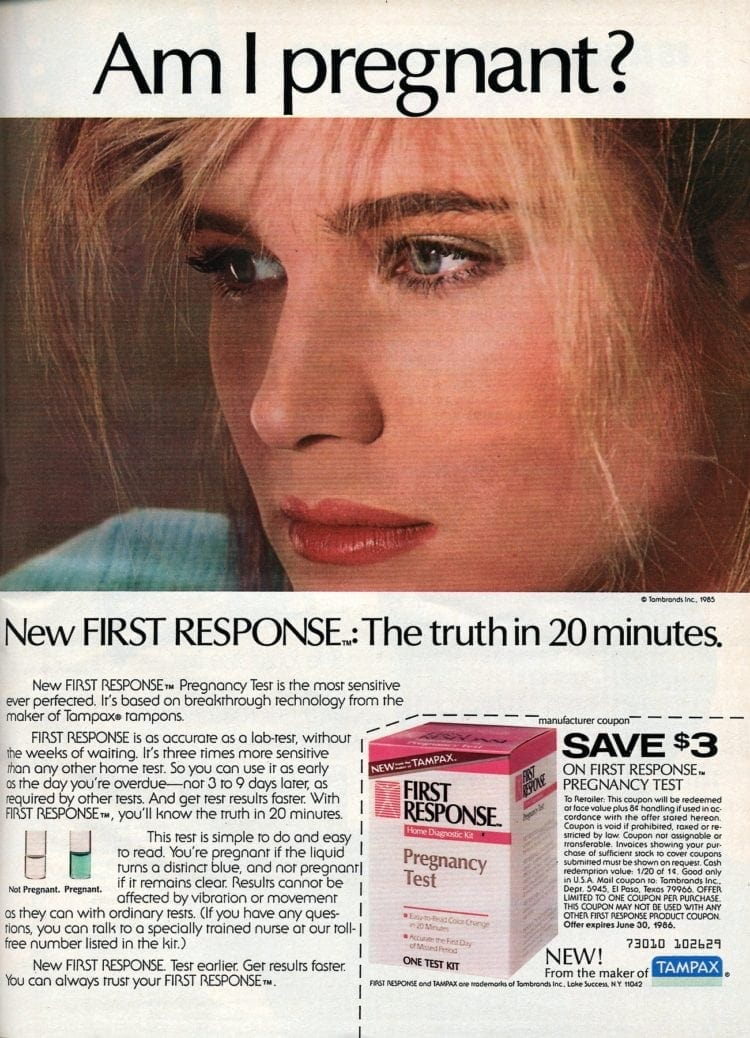 First response test tube 20-minute color-changing liquid pregnancy tests from 1985
