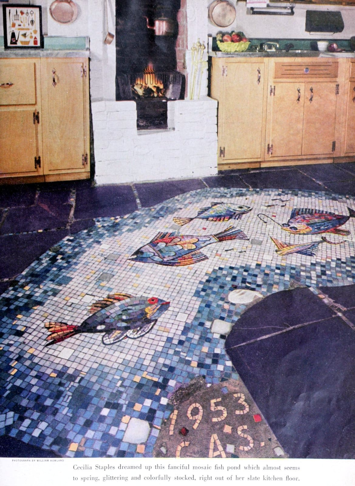 Fish mosaic tile flooring from the fifties