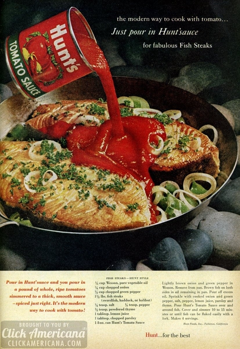Fish steaks, Hunt's-style (1961)