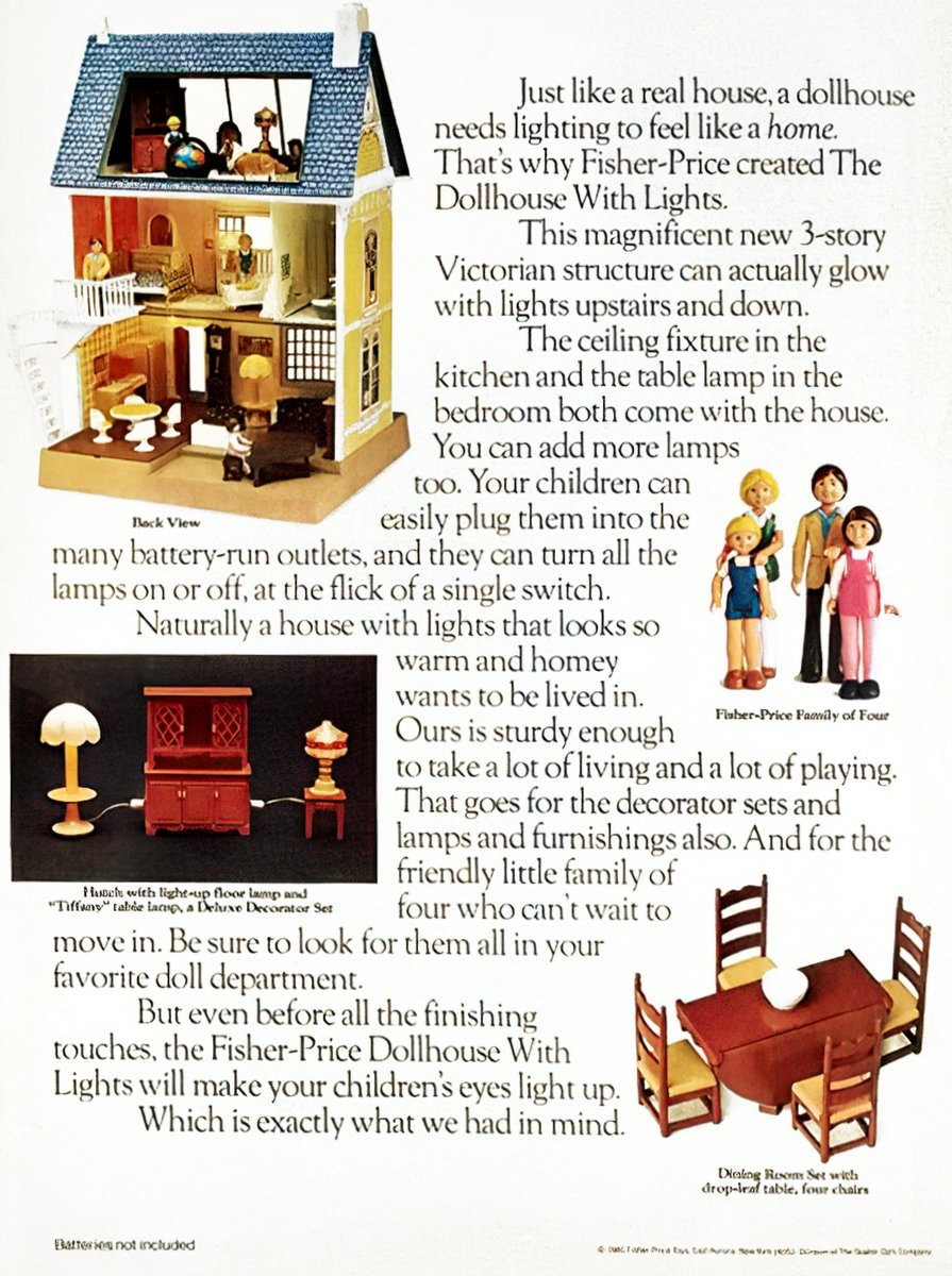 Fisher-Price Dollhouse With Lights retro 1980s toy (1984)