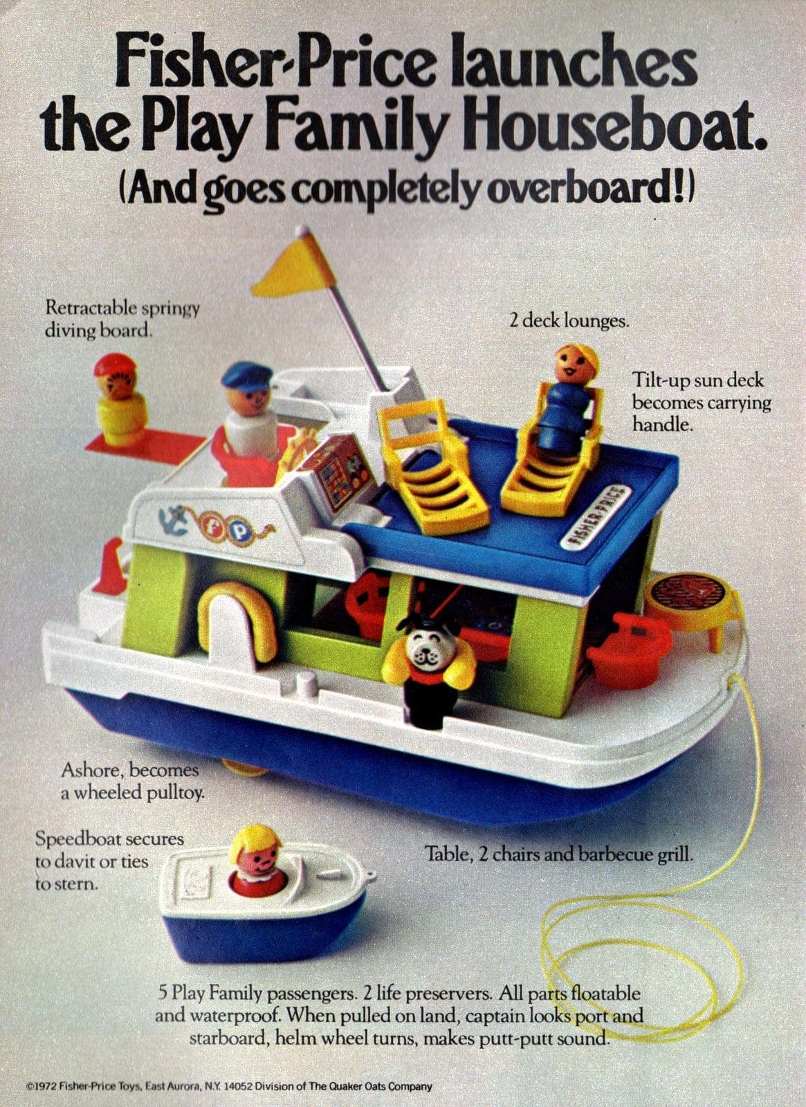 Fisher Price Play Family - Little People houseboat vintage ad from 1972