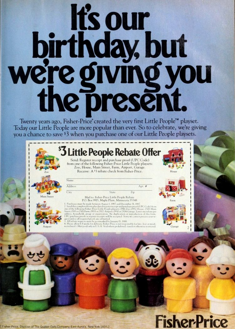 Fisher-Price created the very first Little People play set 1986