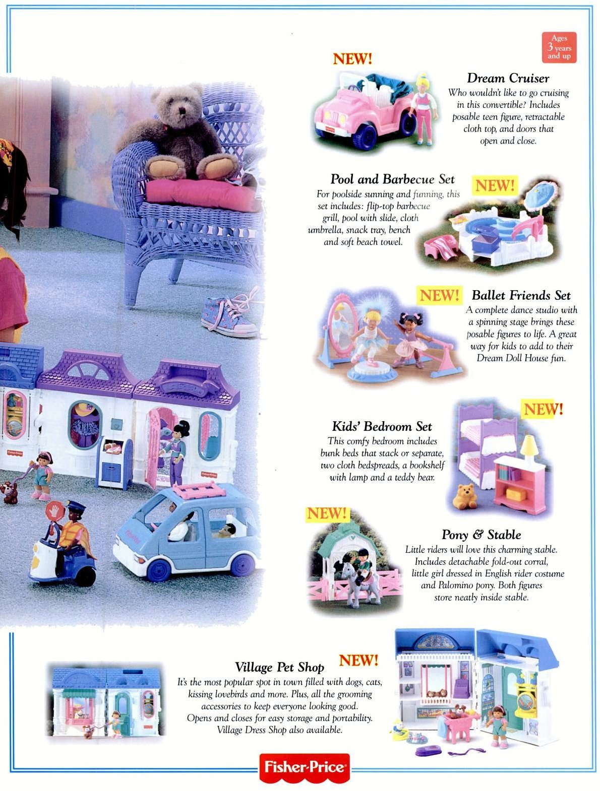Fisher-Price vintage toys - Dream Doll House accessories (1996)