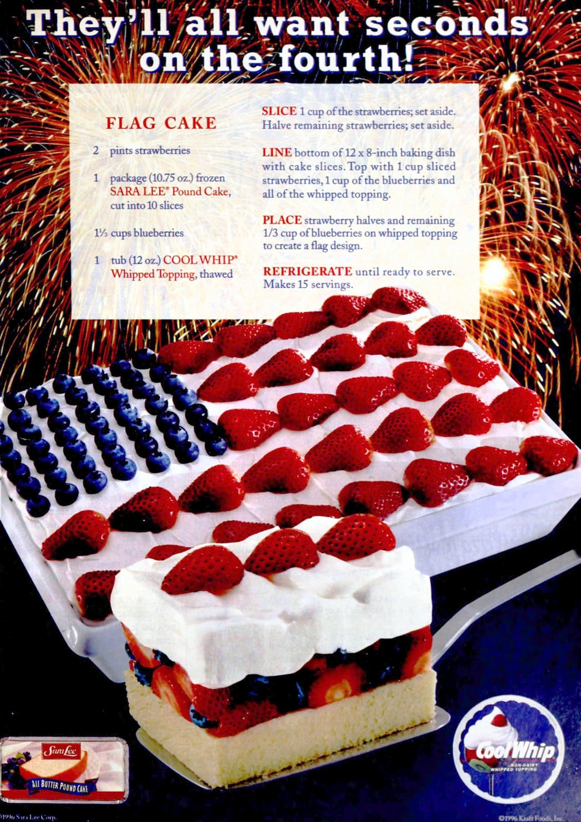 Flag dessert cake with strawberries and blueberries The classic recipe from the 1990s