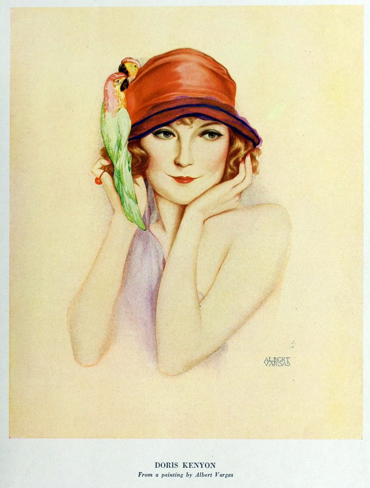 Flapper woman with a parrot