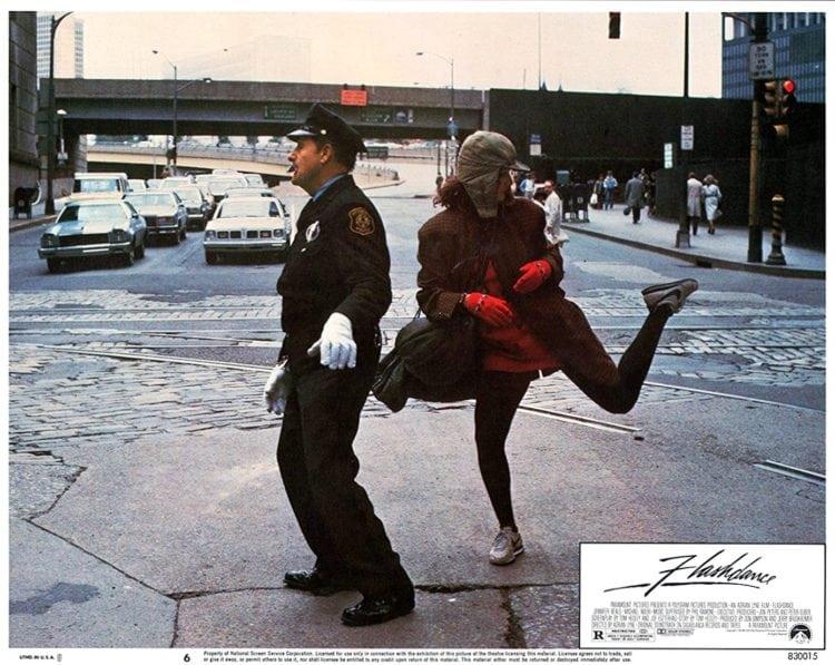 Flashdance lobby card - police street dancing
