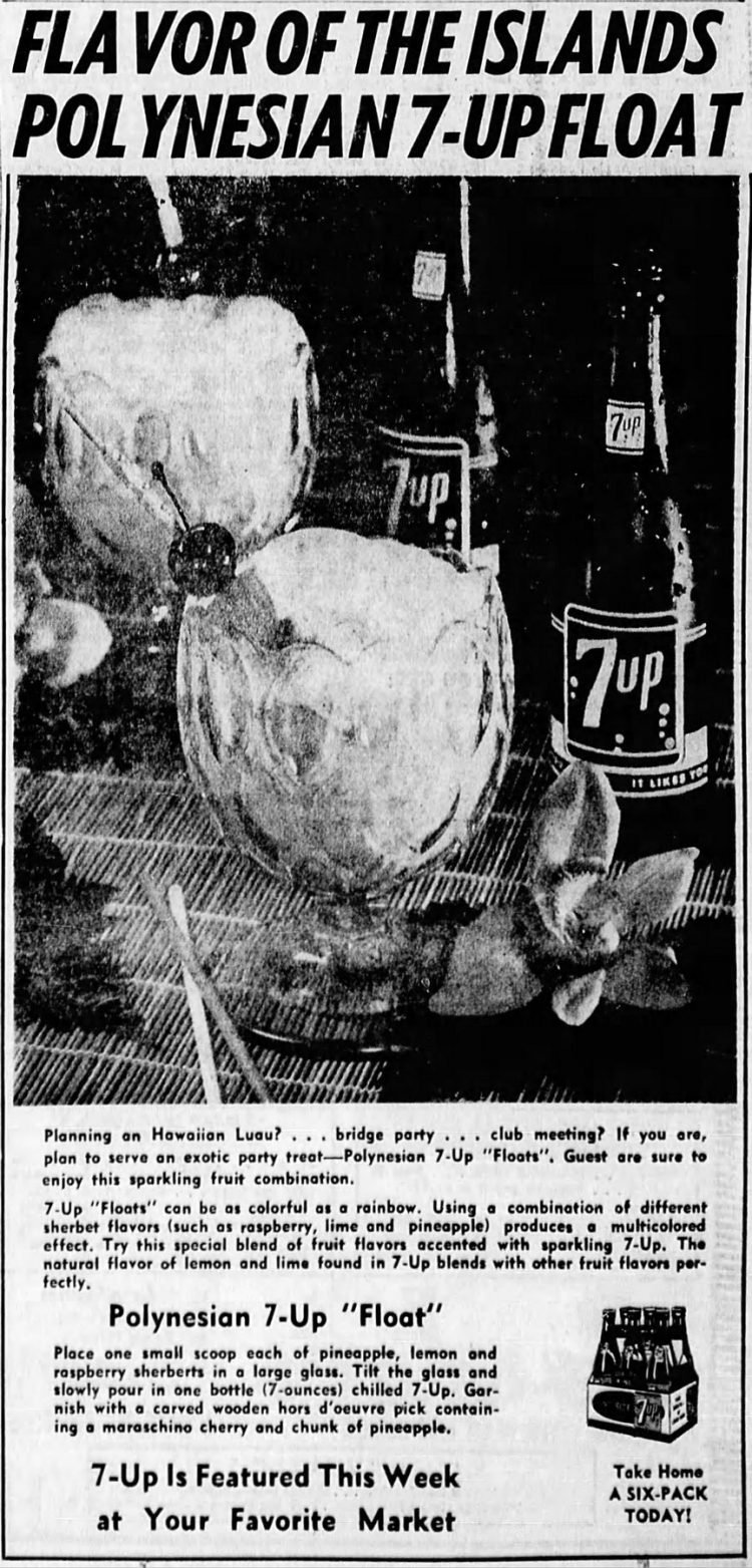 Flavor of the islands Polynesian 7-up float (1963)